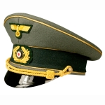 German Third Reich Army General Visor Caps, Gold Piped, Economy Model
