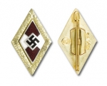 Hitler Youth Golden Party Badge w/pin back, gold finish/enameled - Reddick Militaria