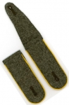 Old Stock German Made Shoulder Boards - Army Cavalry - Field Grey, Yellow Piping - Reddick Militaria