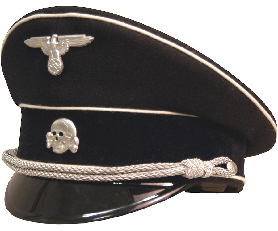 Allgemeine Ss Officers Black Visor Cap White Piped