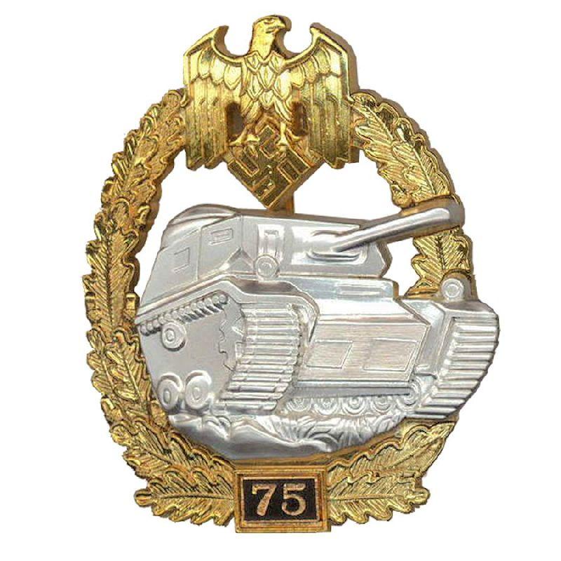 German WW2 Panzer Assault Badge - 75 Engagements