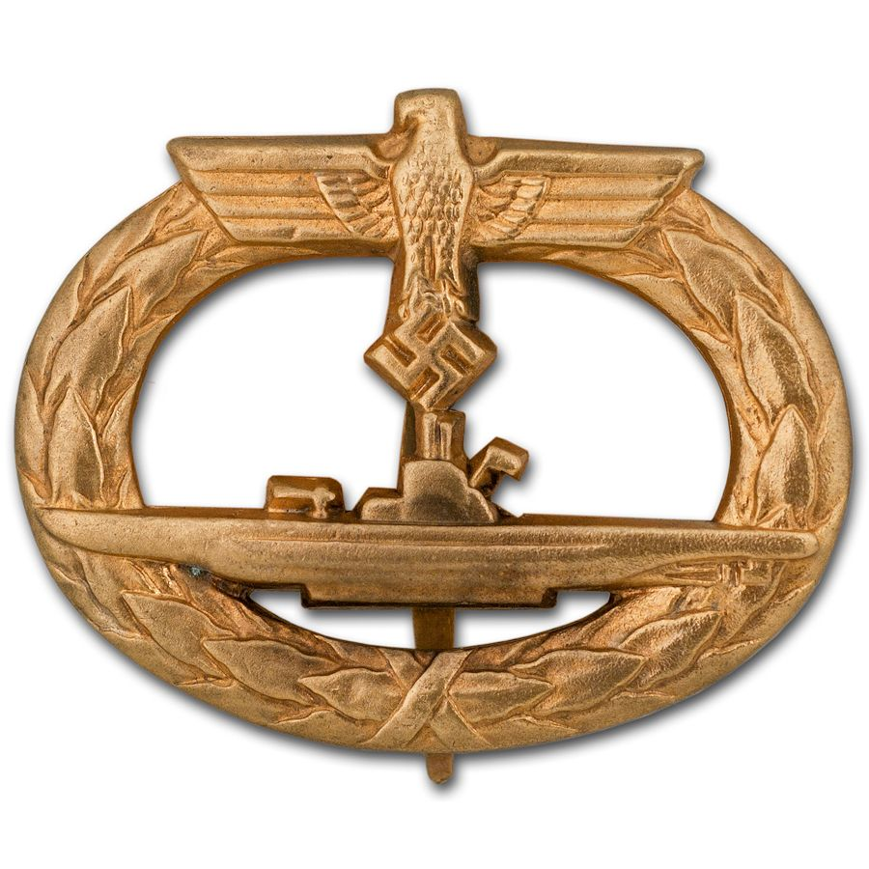 Kriegsmarine U-Boat Badge w/Flat Pin by Schwerin, Museum Quality Replica