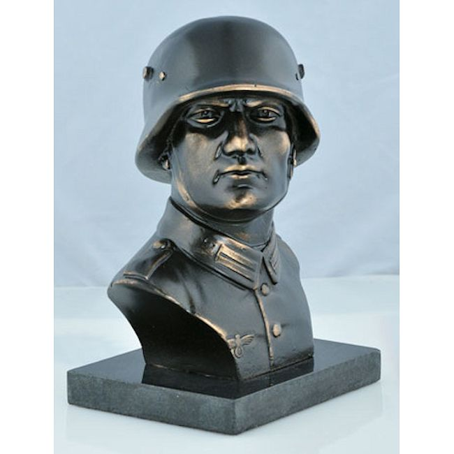 Large Heroic German Soldier Bust on Marble Base - PRICE REDUCED!!
