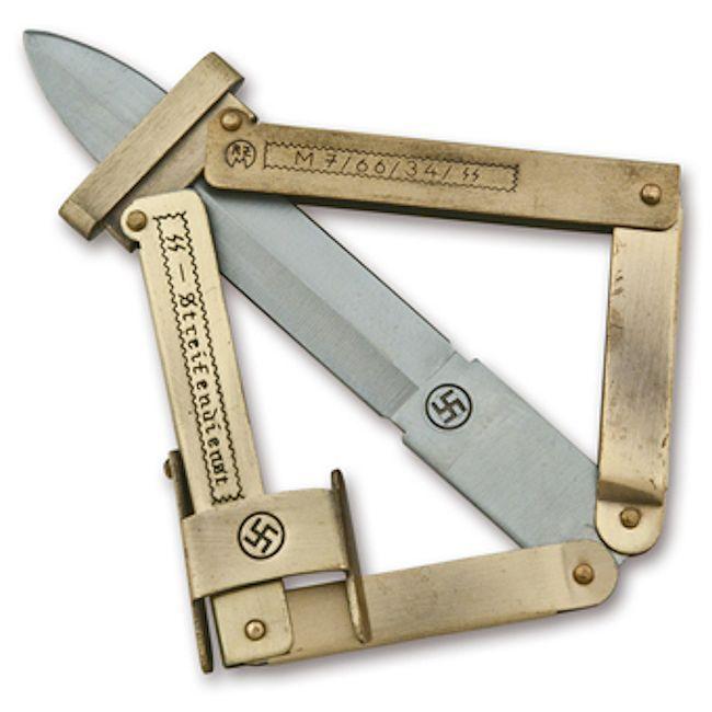 Ss Paratrooper Knife Gold Handle Reddick Militaria