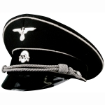 German Third Reich Allgemeine SS Officer Visor Cap, Black w/ white piping, Economy Model