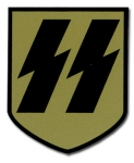 WW2 German Helmet Decals -SS Runes on Gold Shield Decal (single)