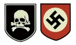 WW2 German Helmet Decals - SS Death Head (pair)