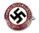 Nazi Party Membership Badge w/pinback, silver finish/enameled