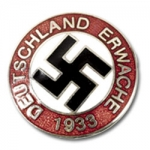 Deutschland Erwache Party Badge w/pinback, silver finish/enameled