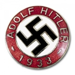 Adolf Hitler 1933 Party Badge w/pinback, silver finish/enameled