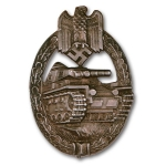 German WW2 Panzer Assault Badge - Silver, Late War Production w/Solid Back, Museum Quality Repro