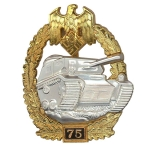 German WW2 Panzer Assault Badge - 75 Engagements