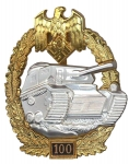 German WW2 Panzer Assault Badge - 100 Engagements