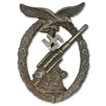 German WW2 Luftwaffe Flak Badge, Solid Back, Late War Production, Museum Quality Repro
