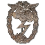 German WW2 Luftwaffe Ground Assault Badge, Solid Back, Late War Production, Museum Quality Repro
