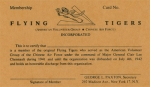 Flying Tiger Membership Card - Reddick Militaria