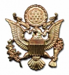 US Army Officers Cap Badge, full size, gold plated - Reddick Militaria
