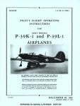 Pilot's Flight Operating Instructions for Army Models P-39K-1 & P-39L-1 Airplanes - Reddick Militaria
